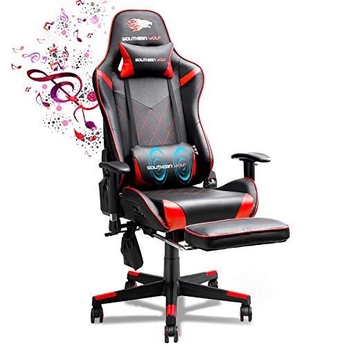 Silla para videojuegos SOUTHERN WOLF, silla para juegos de cuero suave con parlantes Bluetooth, silla estilo carrera para el hogar / oficina con reposapiés y reposacabezas, silla ergonómica de escritorio para computadora de juegos para PC con masaje lumba