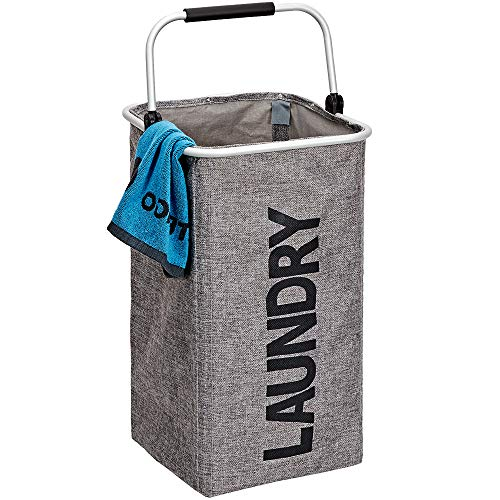 HOMEST Single Standing Laundry Hamper with Aluminum Handle Dirty Clothes Bag Toy Storage Foldable Sorter Washing Basket Organizers