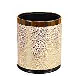 Luxury Metal Waste Bin with Leather Cover,Open Top Office Wastebasket,Double Layer Trash Can,Round Shaped (Golg Carve with Gold Ring)