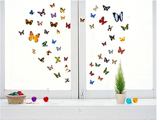 FLY SPRAY 162 Pcs Colorful Butterfly Mural Decor Removable Wall Stickers (Designer Wall Murals)