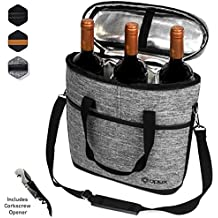 Premium Insulated 3 Bottle Wine Carrier Tote Bag   Wine Travel Bag with Shoulder Strap, Padded Protection, and Corkscrew Opener   Wine Cooler Bag