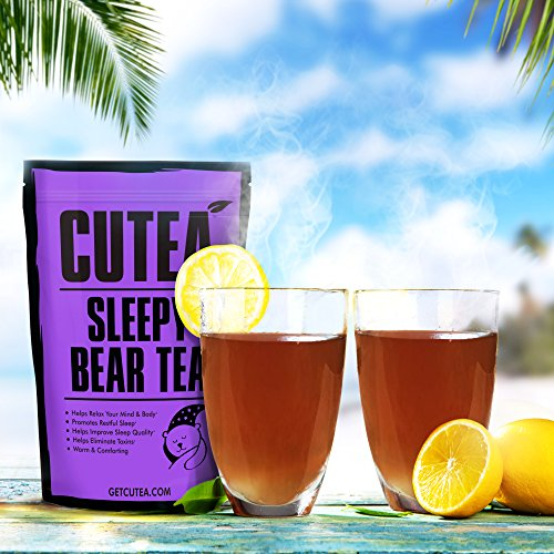 CUTEA Sleepy Bear Tea, 28 Tea Bags: Promote Sleep, Reduce Stress, and Relax the Body and Mind with Natural Antioxidant Rich and Calming Herbs