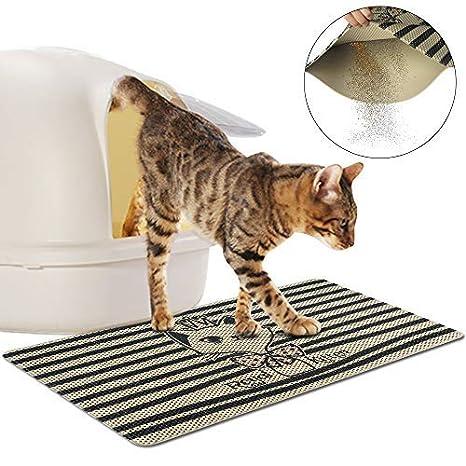 FREESOO Estera de Arena para Gatos Impermeable Alfombrilla Alfombra de Basura Rascadores Cat Litter Mat Litter Trapping Doble Capa no Tóxico Antideslizante ...