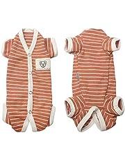 TONY HOBY Female/Male Pet Dog Pajamas Stripes 4 Legged Dog pjs Jumpsuit Soft Cotton Dog Clothes (XL(12.1-14.3lbs), Orange+White-Girls)