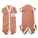 TONY HOBY Female/Male Pet Dog Pajamas Stripes 4 Legged Dog pjs Jumpsuit Soft Cotton Dog Clothes(L, Orange+White-Girls)