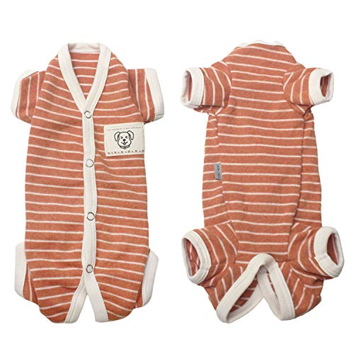 (TONY HOBY Female/Male Pet Dog Pajamas Stripes 4 Legged Dog pjs Jumpsuit Soft Cotton Dog Clothes(S, Orange+White-Girls))