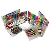 200 Superior Gel Pens (100 Gel Pens + 100 Free Refills) - Adult Coloring Book Lovers - Glitter, Metallic, Pastel, Neon, Rainbow, and Classic