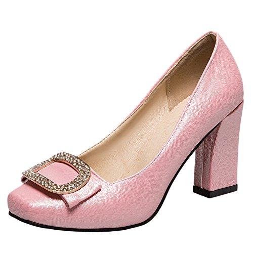 Charm Foot Womens Fashion Square Toe Chunky High Heel Pump Shoes Pink 1zYCZ1B7j