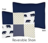 Sweet Jojo Designs Navy Blue, Gold, and White Patchwork Standard Pillow Sham for Big Bear Collection by