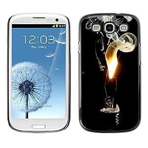 LASTONE PHONE CASE / Slim Protector Hard Shell Cover Case for Samsung Galaxy S3 I9300 / Fire Flame Black Smoke Art Light Bulb Deep