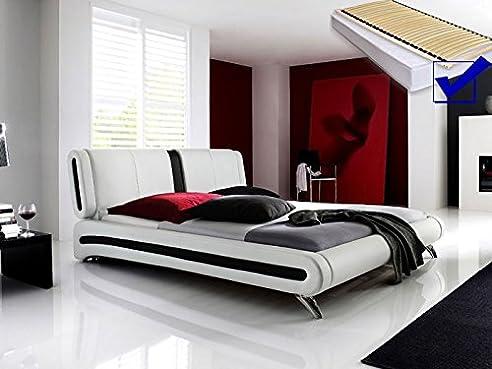 Elegant Polsterbett Weiss Komplett Bett 140x200 + Lattenrost + Matratzen Singlebett  Designerbett Malin