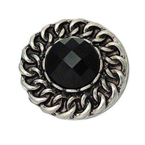 Souarts Bouton à Pression pour Bracelet Strass Rond Noir