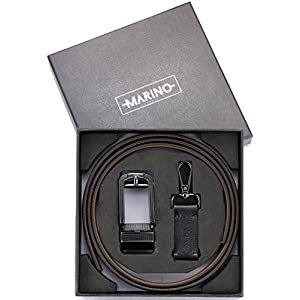 """Marino Avenue Men's Genuine Leather Ratchet Dress Belt with Open Linxx Leather Buckle, Enclosed in an Elegant Gift Box - Black - Style 138 - Custom Up to 44"""" Waist"""