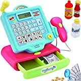 FUNERICA Durable Play Cash Register Toy Set for Boys & Girls - with Working Mic, Scanner & Calculator, Play-Money and More - Pretend Play Supermarket Toy Cashier