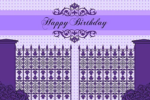 Baocicco 5x3ft Purple Happy Birthday Photography Backdrop Background Classical European Manor Gate Classical Europe Royal Patterns Girls Lady Woman Princess Birthday Party Photo Studio Props (Light Gate 3 Manor)