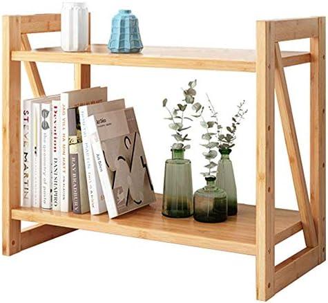 Storage Shelf Bookcase Bookcase Double Tier Bamboo Desk Shelf Bamboo and Wood Office Desk Small Double Small Office Bookshelf Desk 70Cm70Cm