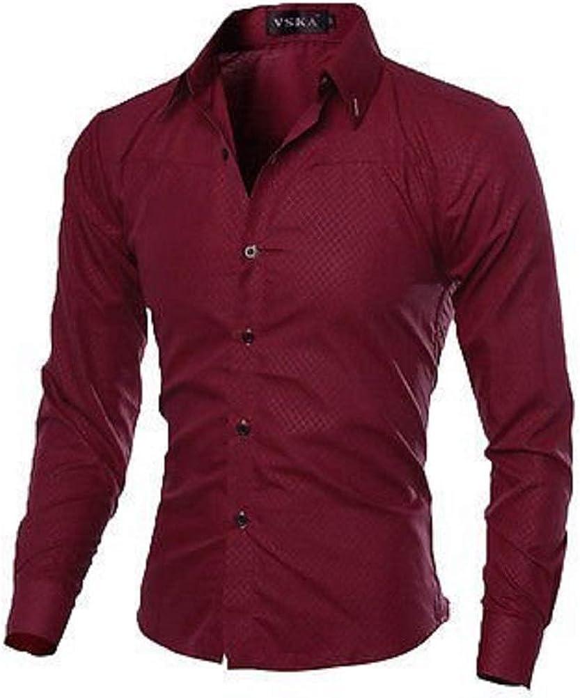 FidgetGear Luxury Fashion Mens Slim Fit Shirt Long Sleeve Dress Shirts Casual Shirt Tops