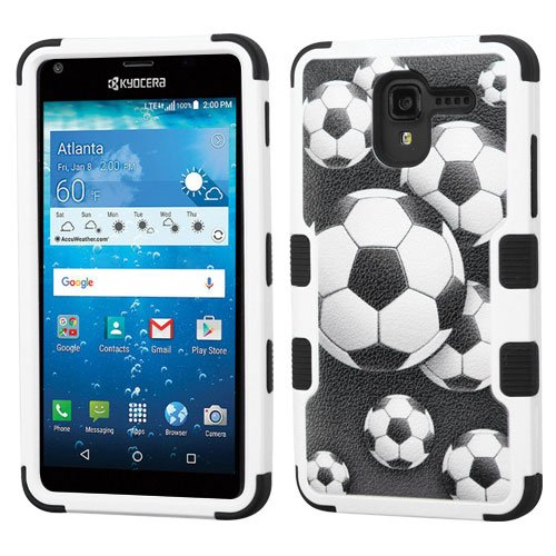 Price comparison product image MyBat TUFF Hybrid Cover for KYOCERA C6742 (Hydro View) / 6743 (Hydro Reach) - Soccer Ball Collage / Black