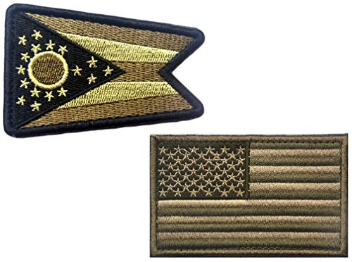 HFDA 2 piece US Flag and YG OHIO Flag Patches Velcro Morale Patches Cloth Fabric Badges Tactical Patches for Cap Jackets (2x3 in, Color 2)