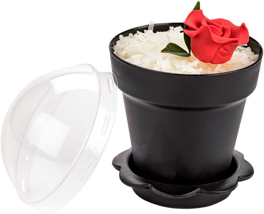 6 oz Black Plastic Mini Flower Pot Cup - with Lid - 3