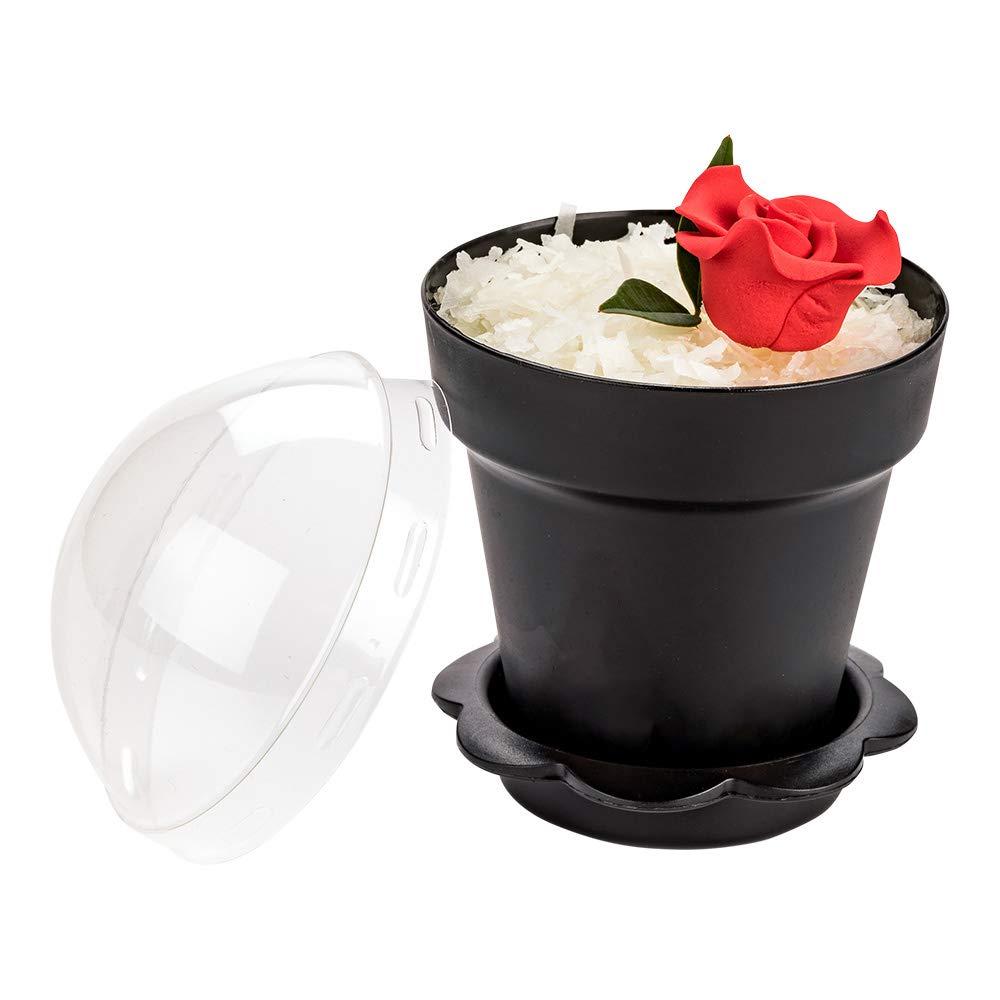 Restaurantware RWP0443B 6 oz Black Plastic Mini Flower Pot Cup with Lid 3'' x 3'' x 3'' 100 count box, 6 ounces,