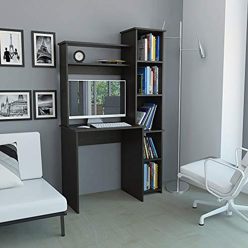 TUHOME Versalles Collection Free Standing Home Office Computer Desk, Study Writting Desk W/ 2 Top Shelves and Attached Bookcase with 5 Shelves. Espresso Finish for Small Spaces