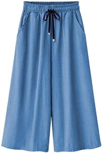 Nicellyer Womens Denim Tenths Pants Loose Plus Size Palazzo Wide Leg Pants