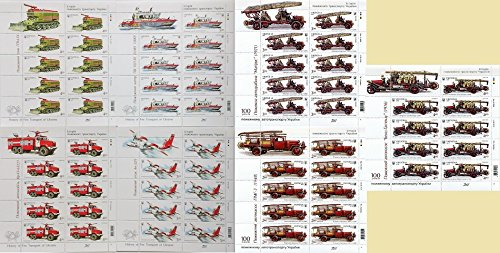 (Ukraine stamp, 2016-2017 year. Fire Rescue Transport. Ship Truck Plane Emergency 7 sheets MNH)