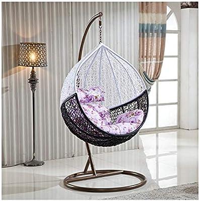 LEJZH Silla de Columpio Colgante de ratán, Silla de jardín Weave Egg Patio, con cojín, Muebles de jardín para Exteriores de 200 kg de Capacidad,Black+White: Amazon.es: Hogar