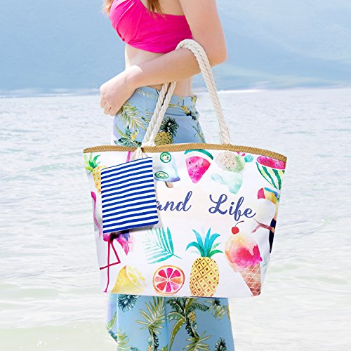 Bag Beach Ladies Bags Women Navy Handbag with Girls Shopping MOOKLIN Shoulder Travel Canvas Blue Small Summer for Large Bag Tote Bag Women Holiday FHwXxqOd