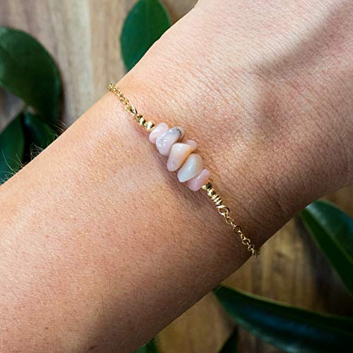 Pink Peruvian Opal bead bar crystal bracelet in gold plate - 6