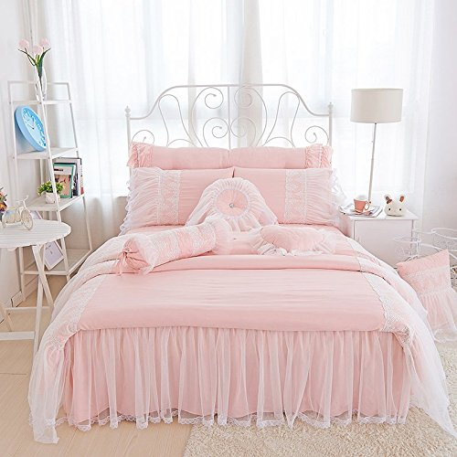 FADFAY Luxury Princess Girls Pink Bedding Sets White Lace Ruffled Duvet Cover