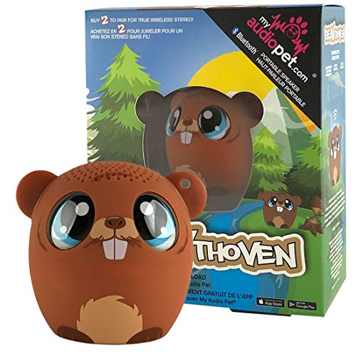 My Audio Pet Beaver Mini Bluetooth Animal Wireless Speaker for Kids of All Ages - True Wireless Stereo Technology - Pair with Another TWS Pet for Powerful Rich Room-Filling Sound (BEAVthoven)