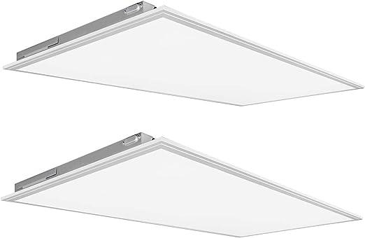 (2 Pack) Kadision 2x4 FT LED Flat Panel Light 50W, 5500LM 5000K Daylight 100-277V Recessed Troffer Fixture, 0-10V Dimmable Back Lit Commercial Ceiling Lights