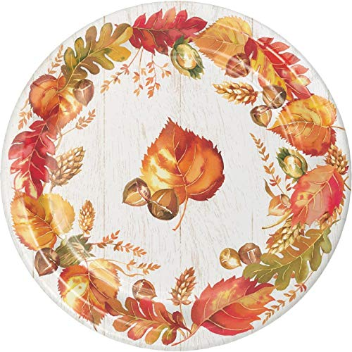 Pack of 96 Autumn Leaf Thanksgiving Disposable Paper Party Dinner Plates 8.75