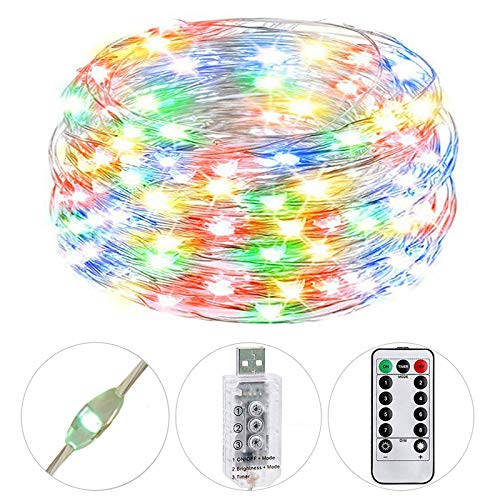 HSicily USB Plug in Fairy Lights with Remote Control Timer, 8 Modes 33ft 100 LED USB String Lights with Adapter,Multi Color LED Twinkle Lights for Bedroom Indoor Decoration
