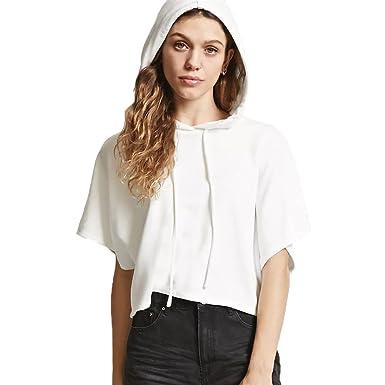 revendeur style unique en ligne ici Sweat-Shirt à Capuche Femme Décontracté Crop Top Imprimé Lettre Sweat avec  Cordon Haut Manche Courte Habillé Mode Chemise Ete Oversize Blouse Harajuku  ...