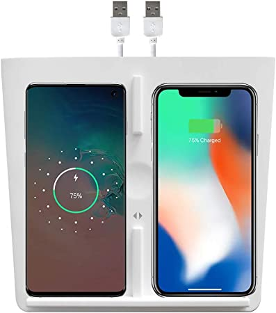 Tesla Model 3 Wireless Charger Dual Charging Dock with Two USB Splitter V2.0 White