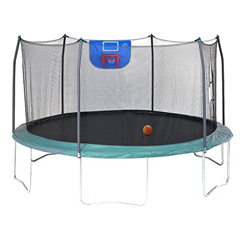 Skywalker Trampolines Jump N' Dunk Trampoline with Safety Enclosure and Basketball Hoop, Green, (Interlock Assembly)