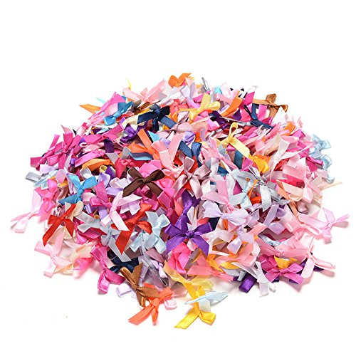 Kocome 100pcs Mini Satin Ribbon Flowers Bows Gift DIY Craft Wedding Decoration Ornament (Mini Ribbon)