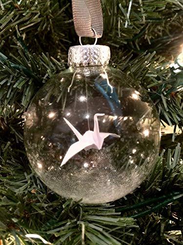 Origami Crane Glass Christmas Ornament White