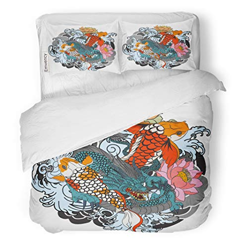 Semtomn Decor Duvet Cover Set Twin Size Dragon and Koi Fish Flower Tattoo for Arm Japanese 3 Piece Brushed Microfiber Fabric Print Bedding Set Cover ()