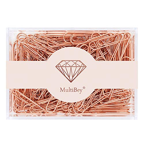 MultiBey Rose Gold Paper Clips Non-Skid Smooth Finish Steel 28mm,