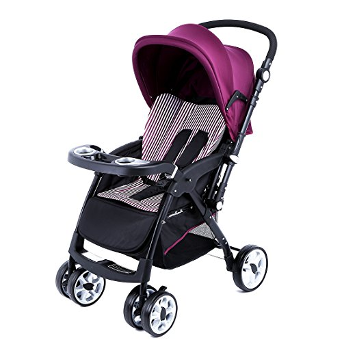 Lightweight Baby Stroller, Foldable Lightweight Stroller, Infant Adjustable Pushchair Pram with Storage Basket, for 0-36 Months (Purple)