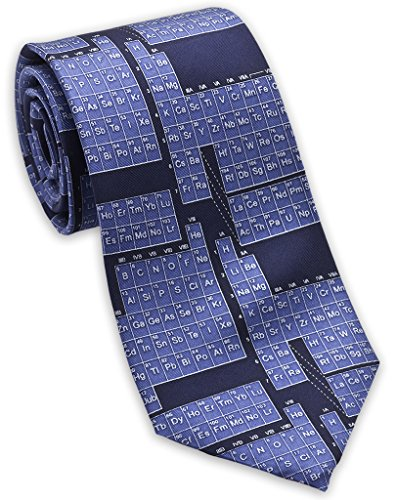 Josh Bach Mens Periodic Table/Science Silk Necktie Blue, Made in USA