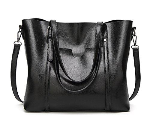 Panzexin Vendimia de Cuero PU Bolso de Hombro Bolsa de Gran Capacidad Grande Estilo Casual Bolsa Mujer marrón Negro