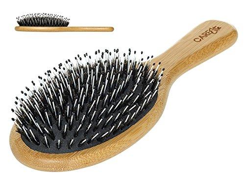 Haarbürste mit Wildschweinborsten aus natürlichem Bambus-Holz für kräftige, glänzende und schöne Haare für Frauen, Männer und Kinder / Beste Holz-Haarbürste mit Misch-Borsten zur Massage ohne Ziepen zur schonenden Haar-Pflege