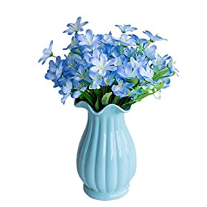 lightclub 6 Branches/1Pc Artificial Flower Narcissus Simulation Office Home Decoration Blue 2