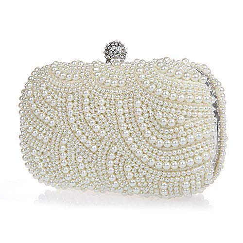 Satin Clutch White - Neevas Fashion Two Chains Women Pearl Evening Bag Clutch Gorgeous Bridal Wedding Party