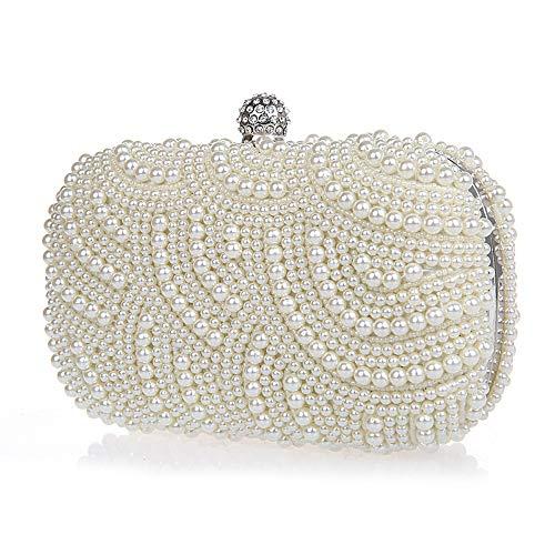(Neevas Fashion Two Chains Women Pearl Evening Bag Clutch Gorgeous Bridal Wedding Party)